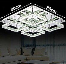 Gowe, quadratisch, groß, L80* 80Design Moderne LED Kristall Deckenleuchte 4-lights lustres Home Dekoration Lichtertüte Luminaria Teto Lampenschirm Farbe: Weiß