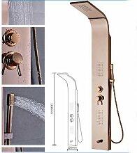 Gowe Rose Golden Duschsäule Massagedüsen Badewanne Mischbatterie mit Handbrause Wandhalterung