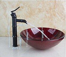 Gowe rot Rose Malerei rund Badezimmer Waschbecken Waschbecken aus Sekuritglas mit Messing Wasserhahn Se
