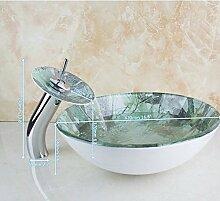Gowe rund Badezimmer Kunst Waschbecken Waschbecken aus Sekuritglas mit Wasserfall Chrom Wasserhahn Se