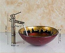 Gowe rund handbemalt Klassisches Glas Badezimmer