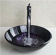 Gowe rund lila Waschbecken aus Sekuritglas mit Öl eingerieben Bronze Wasserhahn Glas Spüle Se