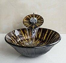 Gowe rund Waschbecken-Set, braun gehärtetem Glas Waschbecken und Chrom Finish Badezimmer Wasserhahn