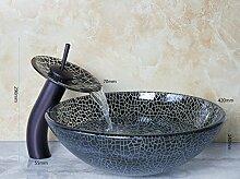 Gowe schwarz Geknackt rund Badezimmer Kunst Waschbecken Waschbecken aus Sekuritglas mit Wasserfall Öl eingerieben brounze Wasserhahn Se