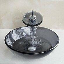 Gowe schwarz Glas Waschbecken Waschbecken aus Sekuritglas mit Messing Wasserhahn Glas Waschbecken Se