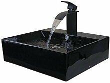 Gowe schwarz Keramik Waschbecken Schiff WC Waschbecken Waschbecken Badewanne, Wasserhähne, Armaturen & Wasserhähne