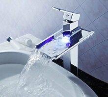 Gowe Torneira chrom LED Waschbecken Wasserhahn Wasserhahn Waschbecken Wasserhahn Wasserfall Vanity Vessel Waschbecken Mixer Wasserhahn Armaturen