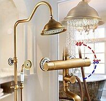 Gowe Wand montiert Messing antik Zwei Griff Thermostatische Dusche Armatur Thermostat Wasserhahn, Dusche Armaturen Antik Finish Farbe: Weiß