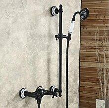 Gowe Wand montiert schwarz Badezimmer Wasserhahn Badewanne Wasserhahn mit Handbrause Duschkopf Mischbatterie Wasserhahn
