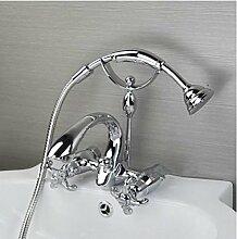 Gowe Wandmontage Zwei Griffe Wasserfall Armatur Badewanne Wasserhahn Dusche Se