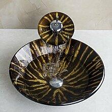 Gowe Waschbecken Runde Spüle aus Sekuritglas mit
