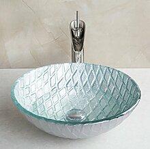 Gowe Waschbecken Schalen gehärtetem Glas Waschbecken Waschbecken Schiff mit Wasserfall Bad Wasserhahn Glas Spüle Se