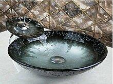 Gowe Wasserfall Deck montieren Spüle Badezimmer Armatur Waschbecken Glas handbemalt WC Bad kombinieren-Messing Wasserhahn, Mixer & Wasserhähne