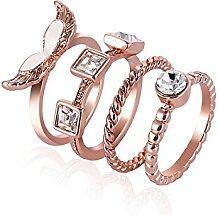 GOZAR 4Pcs Rose Gold Zirkon Ring Set Twist Line Emaille Flügel Mode-Accessoires Schmuck Großhandel - 7