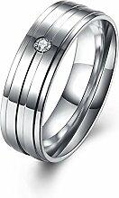 GOZAR Einfache Streifen Zirkon Silber Edelstahl Frauen Männer Paar Liebhaber Geschenk Finger Ring - Mann - 10