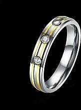 GOZAR Gold Stripe einfachen Zirkon Edelstahl Ring Frauen Männer Geschenk Hochzeit Schmuck - Frauen - 6