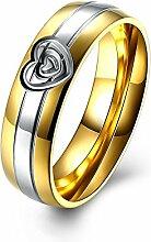 GOZAR Herz Gold Kristall Edelstahl Fingerring Frauen Männer Schmuck Für Hochzeit Datum Geschenk - Männer - 7