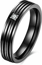 GOZAR Schwarz Zirkon Streifen einfaches Geschenk Paar Liebhaber Liebe Edelstahl Fingerring Frauen Männer - Frauen - 8