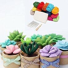 GOZAR Wolle Poke Green Potted Pflanzen Diy Dekoration Rohmaterial Kit Für Home -7