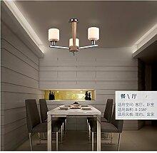 GQLB Massivholz Kronleuchter einzelne Leiter der Nostalgie für die drei Kopf Kronleuchtern, 550*400 mm, 7-W-LED