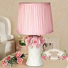GQSS Keramik Lampe Schlafzimmer Nachttisch Lampe Hochzeit Geschenk Qing Real Warm Pastoral Prinzessin Pink Farbe Lampe Schreibtischlampe ( Farbe : B )