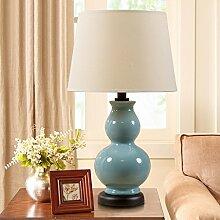 GQSS Keramik Tischlampe Schlafzimmer Nachttisch Lampe Rosa Rot Blau Warm Pastoral Moderne Hochzeit Rosen Lampe ... Schreibtischlampe