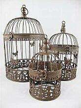 Gr 3er Set Vogelkäfig Antik-braun Eisen