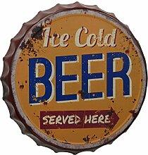 Gr Blechschild 33cm Ice Cold Beer Kronkorken Bier