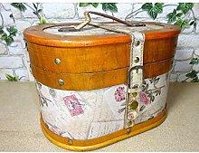 Gr Koffer oval 28cm Blumen Rosen Holz Leder