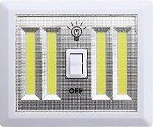 GR Weiße drahtlose LED-Wand-Lampe Nachtlicht-Lampe COB Batterie-Energien-schnurlose Schalter-Wandschrank unter Schrank DC 6V (1PC)