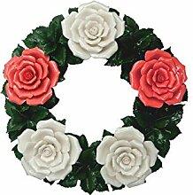 Grabdekoration - Blumenkranz Keramik - rot-weiß -