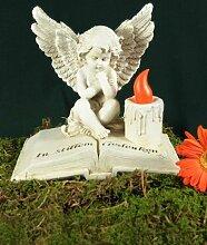 Grabengel auf Buch sitzend mit LED - Kerze