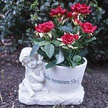 Grabgesteck mit Spruch - Rosenpflanze und Engel.