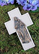 Grabkreuz mit Engel, creme/bronze, H: 16 cm, B: 10 cm