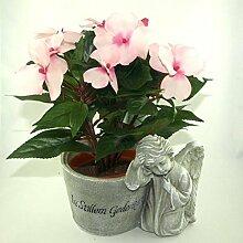 Grabschmuck Grabgesteck mit Kunstpflanze in Rosa.