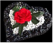 ♥ Grabschmuck Herzgitter mit schwarz poliertem
