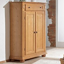 Gradel Gloria Vertiko mit 1 Schublade, 2 Türen und 2 Einlegeböden in Fichte massiv - antik gewachst, mit Gebrauchsspuren