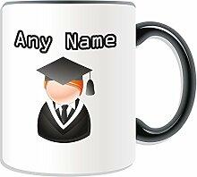 Graduate Becher, personalisiert, Design, Symbol-Design, Farbe zur Auswahl, mit Name und Nachricht Das einzigartige-Bachelor, Master PhD Dr-Teilung Gewand, keramik, schwarz