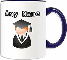 Graduate Becher, personalisiert, Design, Symbol-Design, Farbe zur Auswahl, mit Name und Nachricht Das einzigartige-Bachelor, Master PhD Dr-Teilung Gewand, keramik, blau