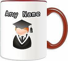 Graduate Becher, personalisiert, Design, Symbol-Design, Farbe zur Auswahl, mit Name und Nachricht Das einzigartige-Bachelor, Master PhD Dr-Teilung Gewand, keramik, ro