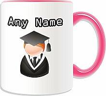 Graduate Becher, personalisiert, Design, Symbol-Design, Farbe zur Auswahl, mit Name und Nachricht Das einzigartige-Bachelor, Master PhD Dr-Teilung Gewand, keramik, rose