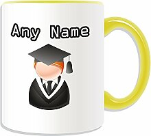 Graduate Becher, personalisiert, Design, Symbol-Design, Farbe zur Auswahl, mit Name und Nachricht Das einzigartige-Bachelor, Master PhD Dr-Teilung Gewand, keramik, gelb