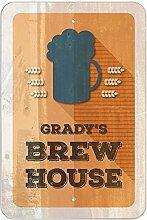 "GRADY 'S Brew House–hausgebrautem Bier Bar Pub Club Kunststoff Schild, plastik, 8"""" x 12"""" (20.3cm x 30.5cm)"