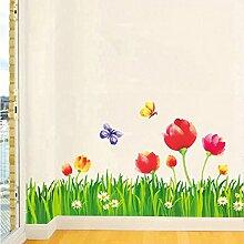 Gräser grün Blätter Blumen Schmetterlinge Wand Aufkleber PVC Home Aufkleber House Vinyl Papier Dekoration Tapete Wohnzimmer Schlafzimmer Küche Kunst Bild DIY Wandmalereien Mädchen Jungen Baby Kinderzimmer Spielzimmer