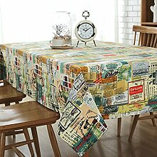 Graffiti Tischdecke Leinen baumwolle Einfache Dekorative Hotel Couchtisch Esstisch Geschirr Staub Tuch , 140*220cm