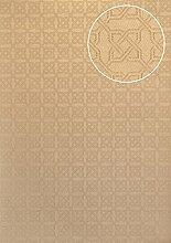 Grafik Tapete Atlas PRI-955-1 Vliestapete strukturiert mit Ornamenten schimmernd oliv oliv-grau kiesel-grau perl-beige 5,33 m2