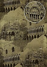 Grafik Tapete Atlas SIG-285-4 Vliestapete strukturiert mit architektonischen Motiven und metallischen Akzenten gold anthrazit creme-weiß 5,33 m2