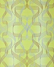 Grafik-Tapete EDEM 507-21 Designer Tapete strukturiert mit abstraktem Muster und metallischen Akzenten gelb-grün perl-gold silber 5,33 m2