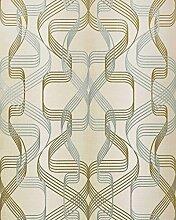 Grafik-Tapete EDEM 507-23 Designer Tapete strukturiert mit abstraktem Muster und metallischen Akzenten creme-weiß perl-gold silber 5,33 m2