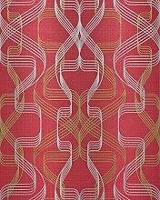 Grafik-Tapete EDEM 507-24 Designer Tapete strukturiert mit abstraktem Muster und metallischen Akzenten rubin-rot perl-gold silber 5,33 m2